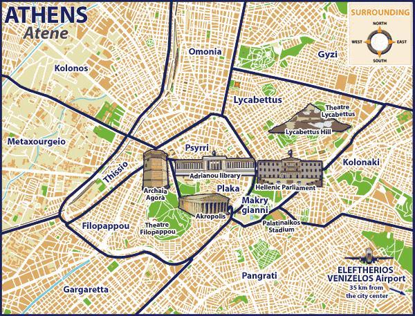 Ateenan Lahistolla Map Ateena Kartta Lahioissa Kreikka